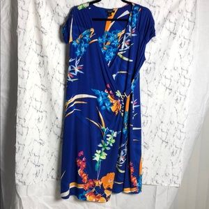 Alfani Floral Tropical Print V neck Ruched Dress